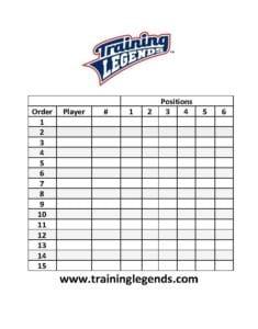 Sample Baseball or Softball Lineup Sheet